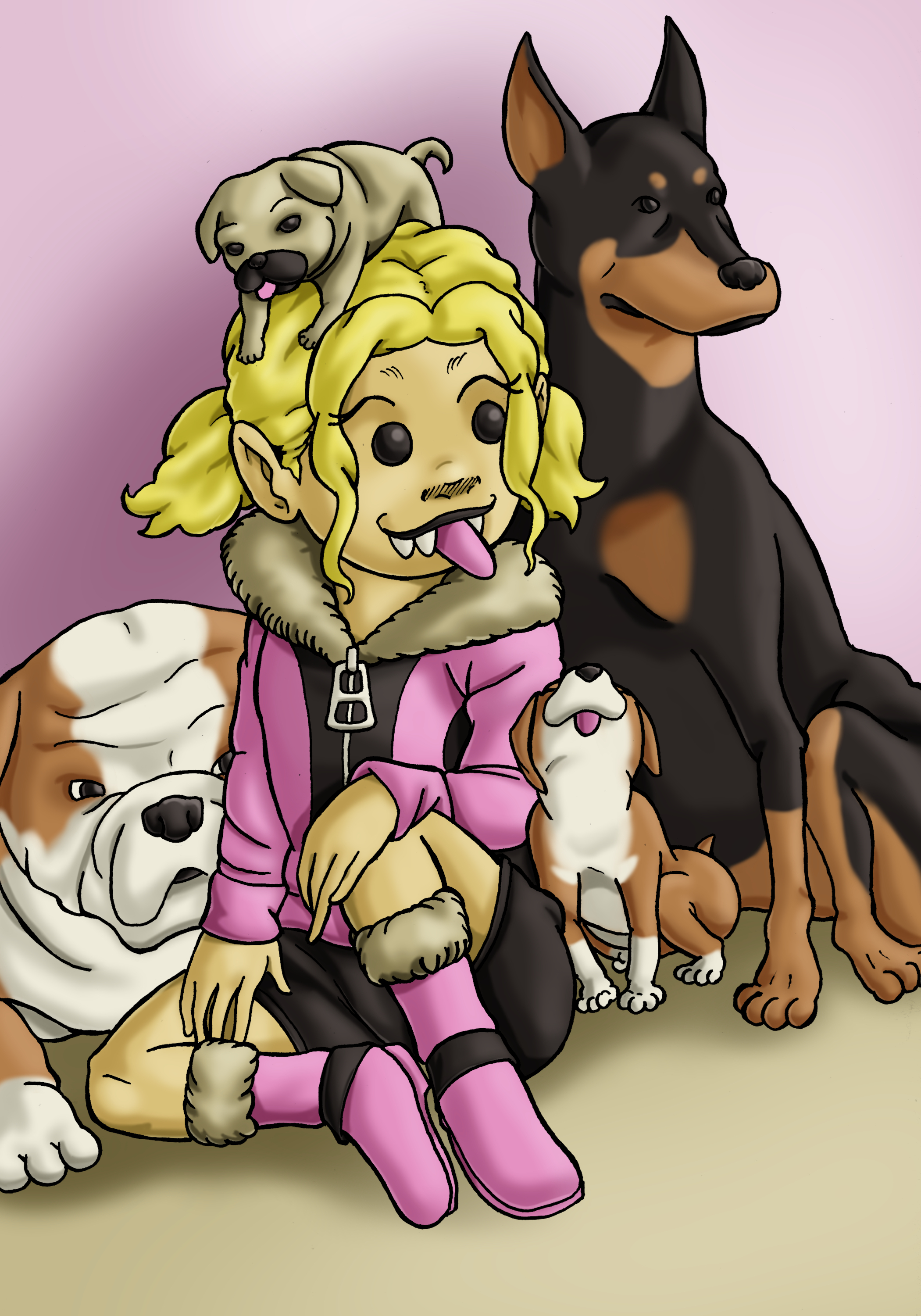 Luna and Dogs Colored